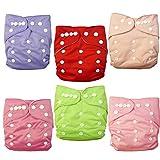 Alva baby cada paquete tiene 6pcs pañal y 2 inserciones ajustado pañal lavable de tela (color para niñas) 6BM88-ES