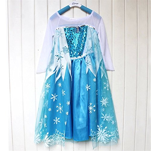 Frozen Elsa Deluxe Costume Dress Style (5T-6T(120Cm))