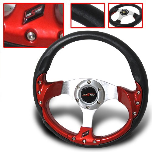 320mm Universal Chevy Truck 6-bolt Steering Wheel Pvc Leather Black + Horn Button (Steering Wheel Chevy Truck compare prices)