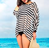 MG Collection Stylish Black / White Striped Fashion Beach Swimsuit Cover-Up thumbnail