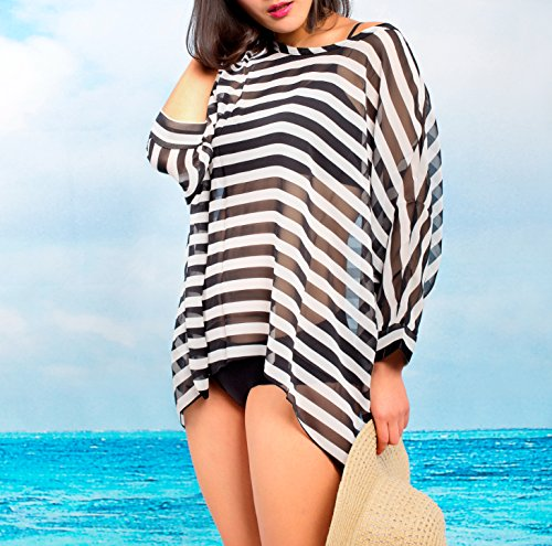MG Collection Stylish Black / White Striped Fashion Beach Swimsuit Cover-Up image