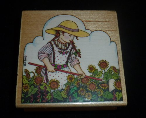 Girl Gardening Sunflowers Rubber Stamp - 1