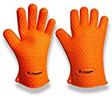 AncientBBQ Silicone BBQ Gloves Heat Resistant Thick Version One Size Fit All - 1 Pair [Orange]