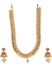 Ganapathy Gems 1 Gram Gold Plated South Indian Lakshmi Coin Long With Pearls Necklace Set For Women