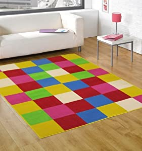 Multi Coloured Red Orange Pink Green Blue Contemporary Design - Stunning Childrens Modern Kids Floor Rug - AVAILABLE IN 3 SIZES from Modern Style Rugs
