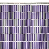 Maytex Rectangles 13-Piece PEVA Shower Curtain Set, Purple