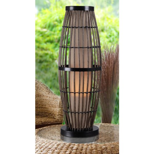 Kenroy Home 32247RAT Biscayne Outdoor Table Lamp, Rattan Finish with Bronze Accents