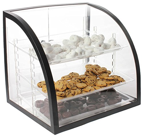 Countertop Bakery Display Case, Clear Acrylic With Black Metal Frame, Rear-loading Doors And 3 Removable Trays - 18 x 19-1/2 x 16-1/2-Inch (Bakery Countertop Display compare prices)