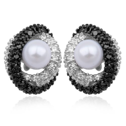 Sterling Silver Pearl and Cubic Zirconia Post Earrings