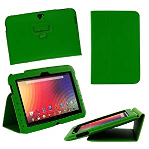 rooCASE Google Nexus 10 Ultra-Slim (Green) Vegan Leather Folio Case Tablet with Multi Angle Stand (Built-in sleep / wake feature)