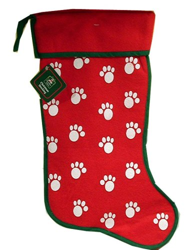Pets Christmas Stocking Red and Green with Paws Dog and Cat