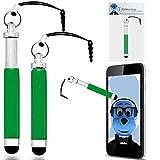 iTALKonline Xolo Q3000 Grün Premium VERSENKBARE MINI Captive Touch Tip Stylus Pen mit Gummi Tip und 3,5 mm Headset-Buchse Dangley Adapter