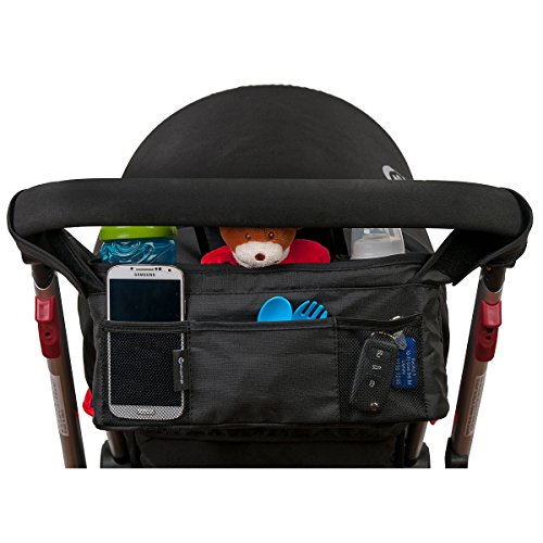 Stroller Organizer Top Quality Universal Fit 3 Unique Quality Fabric Choices - Perfect Baby Shower Gift - Lifetime Guarantee