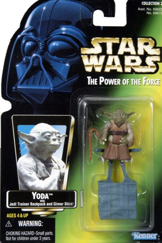 Star Wars, The Power of the Force Green Card, Yoda Action Figure, 3.75 Inches