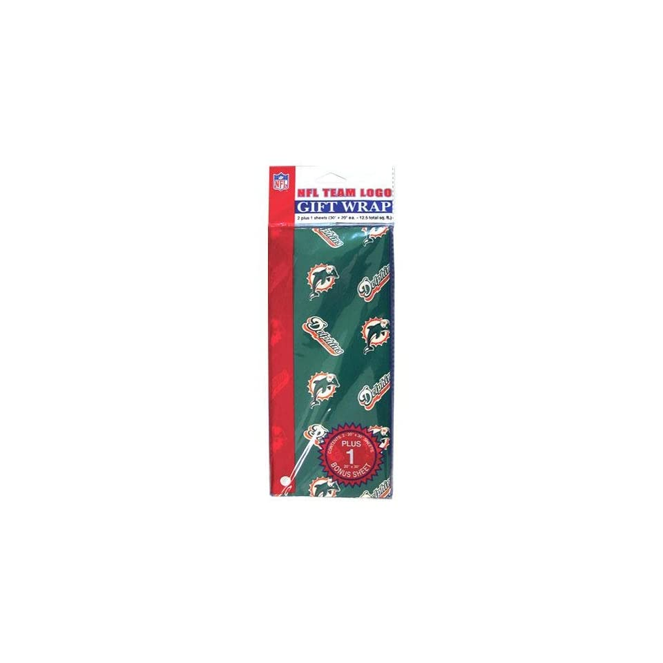 Miami Dolphins NFL Flat Gift Wrap (20x30 Sheets)