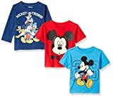 Disney Boys Mickey 3 Pack T-Shirts with a Long Sleeve T-Shirt, Blue, 4T
