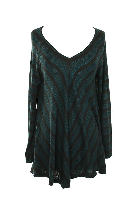 Studio M New Green Long-Sleeve Mitered Stripe Tunic XS $68 DBFL