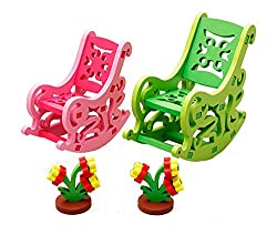 Lovely Kids Colorful Play House Toys Chair Wooden Assembling Furniture Toys