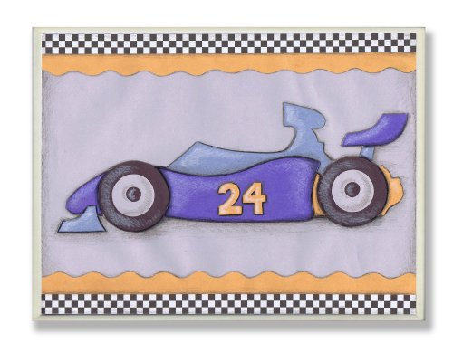 The Kids Room by Stupell #24 Blue Race Car Oversized Rectangle Wall Plaque
