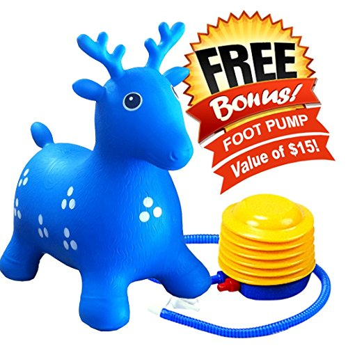 ToysOpoly Inflatable Hopper - Cutest Bouncy Chair for kids on Amazon, Real Heavy Duty Eco-Friendly Rubber + Free Foot Pump, Bring a Ton of Fun (Blue) (Plug Popper compare prices)