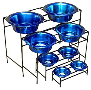 Platinum Pets Modern Double Diner Stand with Two 8 Cup Rimmed Bowls, Black