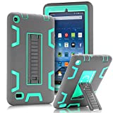 "TOPSKY Fire 7"" (2015 release) Case,[Kickstand Feature],Shock-Absorption / High Impact Resistant Heavy Duty Armor Defender Case For Amazon Fire 7 Inch Tablet,with Stylus, Grey/Green"