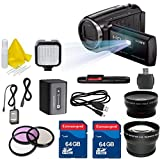Sony HD Video Recording HDRPJ670 PJ Handycam Camcorder + 2PC 64GB Extremespeed Memory Cards + Auxiliary Wideangle + Auxiliary Telephoto + LED Light + Cleaning Kit