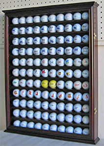 110 Golf Ball Display Case Wall Cabinet Holder, with glass door, Solid Wood by NULL