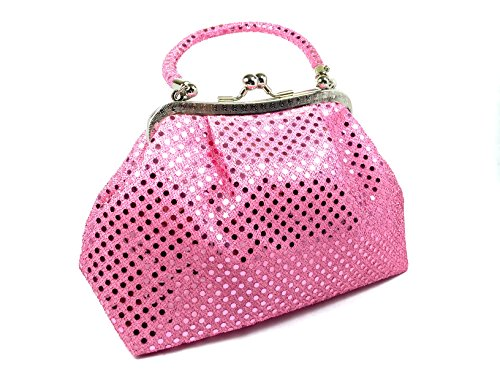 HANDBAG - Eve Metallic Pink Dot by WiseGloves, bag clutch purse handbag