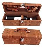 GMMH LN 16 - 12 - Set accessori da vino, 6 pezzi, idea regalo, con coltellino da sommelier, cavatappi, taglia pellicola, tappo, termometro da vino, versatore, in elegante scatola di legno di colore rosso scuro.