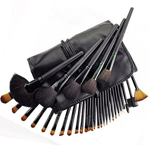 YSM Trucco insiemi di spazzola 32pcs professionale compone il sacchetto della spazzola completa Cosmetici Spazzole sopracciglio polvere rossetti Shadows kit (nero)