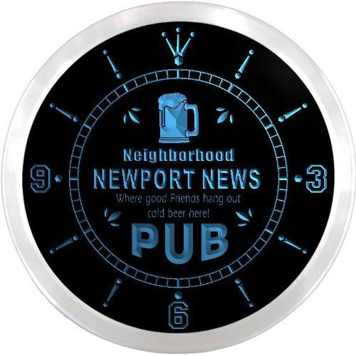 Ncpg2178-B Newport News Neighborhood Pub Bar Beer Led Neon Sign Wall Clock
