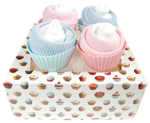 Box of Four Delicious Sock Cupcakes - Twin Boy and Girl