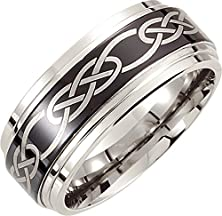 buy Mens Cobalt Chrome, Black Laser Celtic Knot Wedding Band (Sz 10.5)
