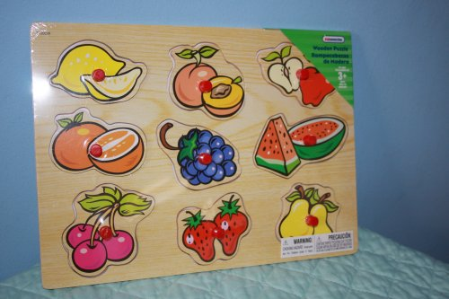 Picture of Kid Connection Wooden Puzzle Assorted Fruit (9 piece puzzle) (B001TOMOO6) (Pegged Puzzles)