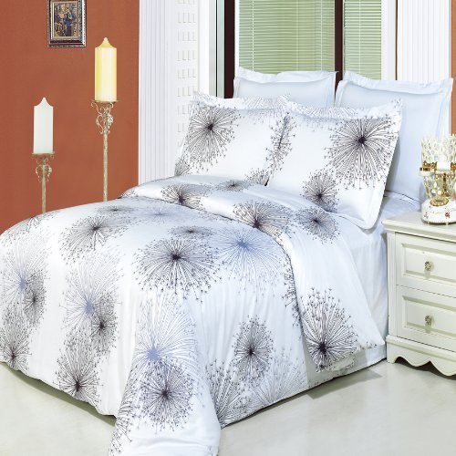 4 pieces King/ Cal King size bedding set Including Luxury Egyptian Cotton Tiffany 3pcs Duvet cover set + 1pc King/ Cal king Down Alternative comforter l ecume des jours
