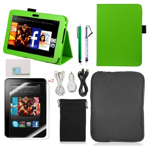 "Llamamia Kindle Fire Hd 7"" Accessories Bundle - Leather Case Cover Skin + Car Charger + 2 Cables(6 Ft) + Velvet Bag + Zipper Sleeve Pouch Bag + 2 Screen Protectors + 2 Stylus Pens (Green)"