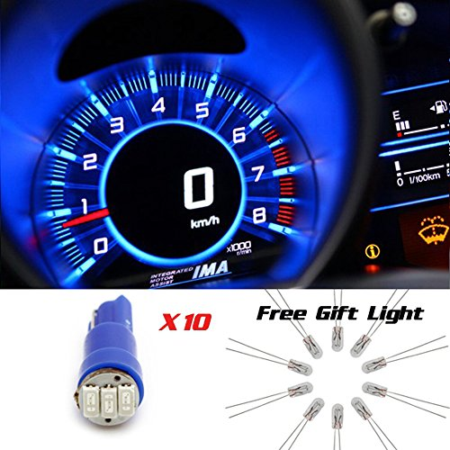 Partsam 10X Blue T5 5050 Smd Speedometer Cluster Light Led Bulbs 73 + 10 Free Backlights