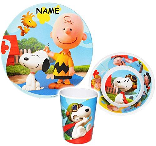 3-tlg-Geschirrset-Peanuts-Snoopy-incl-Name-Melamin-Geschirr-Trinkbecher-Teller-Mslischale-Suppenschale-Kindergeschirr-Frhstcksset-Jungen-Mdchen-Melamingeschirr-Charlie-Brown-Woodstock-Beagle-Hund-Set-