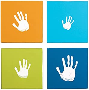 Pearhead Canvas Handprint Wall Art Set, Blue