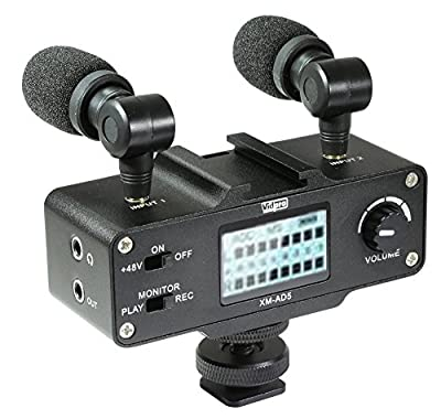 Panasonic Lumix DMC-FZ300 Digital Camera External Microphone Vidpro XM-AD5 Mini Pre-Amp Smart Mixer with Dual Condenser Microphones for DSLR's, Video Cameras and Phones