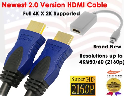 Yarmonth - 2.0 Version 6Ft Super-Speed Hdmi Cable Supports Full 4K X 2K , Ethernet, 3D, And Audio Return + Mini Displayport|Thunderbolt To Hdmi M/F Gold Cable Adapter