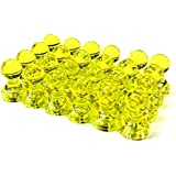 MapMagnets 24 Yellow Magnetic Map/Push Pins - Perfect as Office, Whiteboard, Fridge, and Map Magnets Small, Yellow