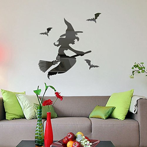 [Wall Sticker, Halloween Witch Background Decorated Living Room Bedroom Wall Stickers (Silver)] (Halloween Decorations New York)