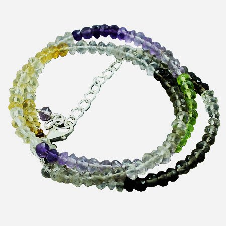925 Sterling Silver Artisan Amethyst Peridot Citrine Smoky Quartz Gemstone Beads Strand Necklace Size 18 Inches