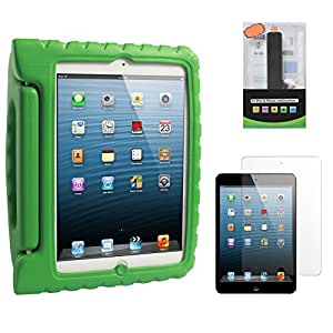 DMG Shock Proof Child Safe Styrofoam Protective Back Cover Case With Handle Stand for Apple iPad Mini (Green) + 2600 mAh PowerBank + Matte Screen