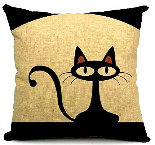 KAIKSO-IN Baumwolle und Leinen mit Kissen Taille Kissen (Black cat)