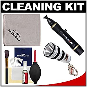 Canon Optical Digital Camera & Lens Cleaning Kit with Flashlight Keychain + Brush, Microfiber Cloth, Fluid & Tissue + Blower + Lenspen for EOS 1D X, 1Ds Mark II, III, IV, 60D, 5D, 6D, 7D, Rebel T2i, T3, T3i & T4i