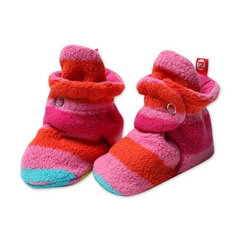 Zutano Newborn Baby-Girls Fleece Bold Stripe Fuchsia Bootie, Fuchsia, 18 Months
