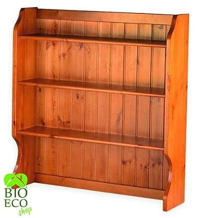 Bioecoshop Libreria A 3 Ripiani In Legno di Pino Svedese Massello Bioeco AFI Mis 106X24 Cm H 99 Cm Made In Italy